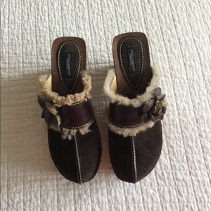 Dolce &Gabbana brown leather & suede clogs